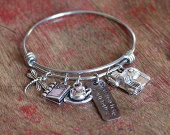 Where you lead I will follow charm bracelet, Gilmore Girls, stainless steel adjustable bracelet, Lorelai, Rory, dragonfly inn