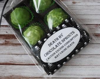 Death By Chocolate Sprouts - Novelty Gift 6/8/12 Brussel Sprout Truffles - Personalised Gift