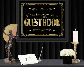 Guest Book Gatsby Poster - INSTANT DOWNLOAD - Printable Party Wedding Reception & Birthday Art Deco 1920s Sign