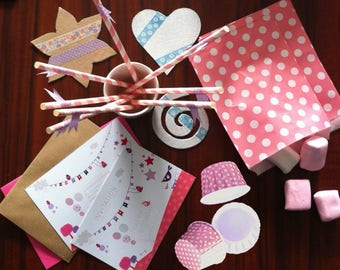 Pink birthday KIT - invitations and accessories, fish, birds and bubbles