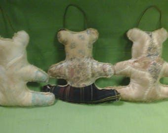 Set of 3 Primitive  Bear Ornaments