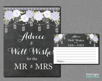 Mason Jars - Advice & Well Wishes for the Mr and Mrs - Lavender Purple, Chalkboard, Country Bridal Shower Advice for the NewlyWeds Activity