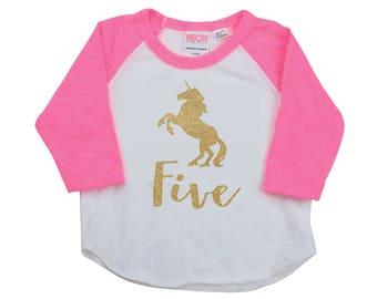 5th Birthday Shirt, Unicorn 5 Year Old Shirt, Pink and Gold 288