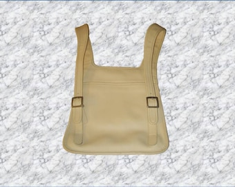Vintage Coach Beige/ Ivory Leather Hippie Slim  Backpack #9405