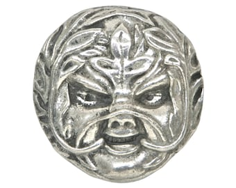 Large Green Man 1 and 3/8 inch ( 30 mm ) Pewter Metal Button Antique Silver Color