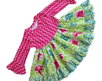 Girls Knit Bodice Dress in Lush Collection Hot Pink Lime Toddler Infant Girls