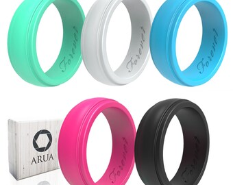 ARUA Women's Silicone Rings | 5 Glossy Wedding Bands | Gift Box Included | Comfortable Rubber Rings for Active Ladies
