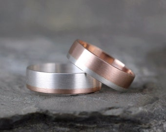 Gold & Silver Commitment Rings - 14K Rose Gold and Sterling Silver - Coordinating Bands - Wedding Bands - Couples Rings - Mixed Metal Ring