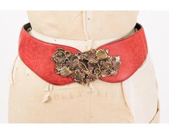 Vintage wide red leather belt / 1980s brutalist brass metal sculptural art buckle / Unique art piece / Waist cincher / S M
