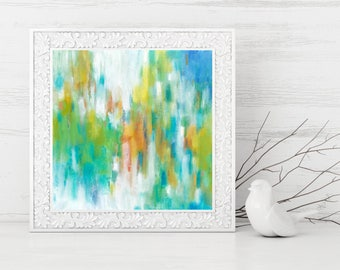 Abstract Printable Art - Square Abstract Art Print - Spring Colors Abstract Painting Print - Abstract Expressionist Painting - 8x8 10x10