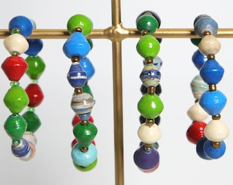 Paper Bracelet Single Stretch/Multi-color/ MEDandSMALL/Recycled/DN-BR-1
