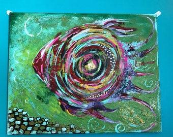 Trippy Art, Canvas Art Modern, Canvas Art abstratc, fish art, Canvas Painting Original, canvas textured painting, small canvas art, Fish