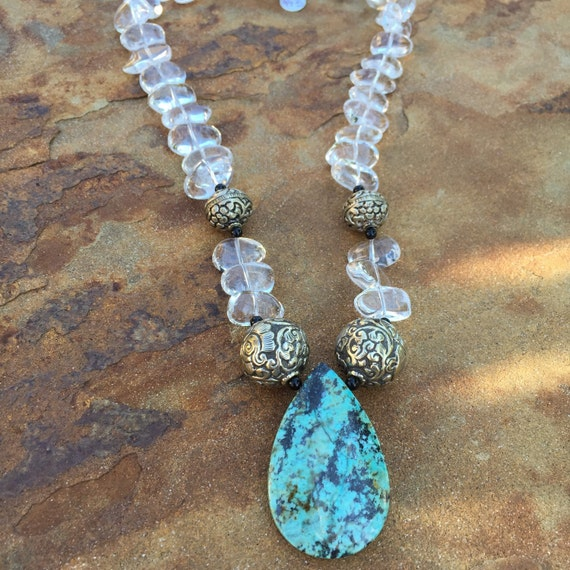 Quartz and Turquoise Boho Statement Necklace and Earring Set