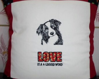 Hand crafted embroidered Border Collie cushion complete with pad