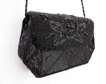 Vintage Bag, Black Beads, Evening Bag, Vintage Purse, Black Bag, Evening Purse, Cross Body, Black Purse, Beaded Bag