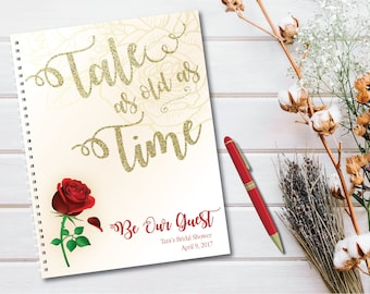 Beauty and the Beast Themed Guestbook - Tale as old as Time - Be Our Guest - Bridal Shower, Wedding, Birthday Party, Baby Shower
