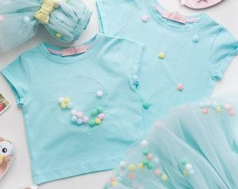 Mint t shirt girls in summer edition, toddler shirt with short sleeves, light blue shirt baby girl, t shirt for kids