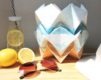 Table lamp EcoWood Summer Collection | Original drawings and watercolor by creator of BellySketcher, Inês Pargana | Origami handmade lamp