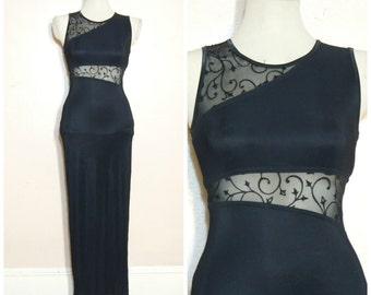 90s Black Mesh Insert Maxi Dress XS Small Sheer Column Dress Goth