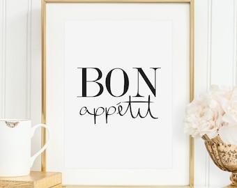Poster, Digitaldruck, Print, Küchenposter: Bon Appétit