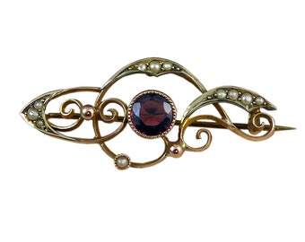Antique Art Nouveau Gold Pin, Garnet and Seed Pearls, Rose and Yellow Gold