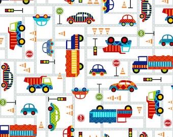 OFF WE GO, Children's Cotton Fabric Multi Vehicles by Laura Stone for Studio E 44 Inches Wide