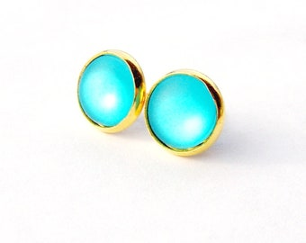 Aqua blue moonglow stud earrings / mothers day gift / blue and gold earrings / girlfriend gift / gift for her / bridesmaid