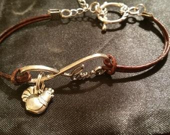 Chickens forever leather bracelet
