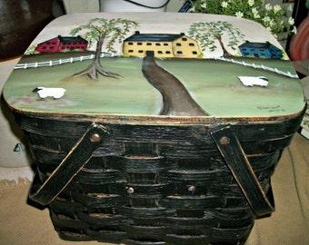 primitive picnic basket, painted picnic basket, primitive decor, saltbox decor, prim kitchen decor, prim home decor, country farmhouse decor