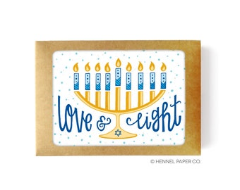 Hanukkah Card Boxed Set - Menorah - Love and Light - Hanukkah Boxed Card Set - Hanukkah Card Pack - Chanukah Card Set - Holiday Card set