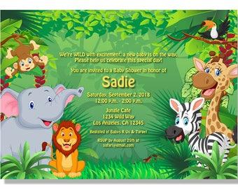 Jungle Baby Shower Invitation  - Digital File