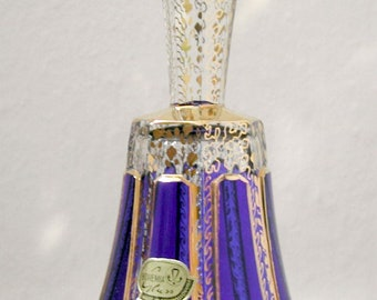 Bohemian Czechoslovakian Cobalt and Gold Glass Bell