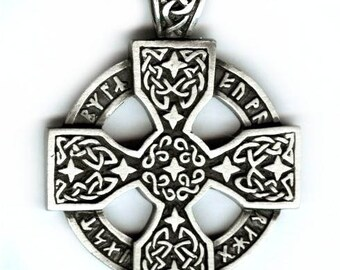 Runic talisman Celtic cross pendant