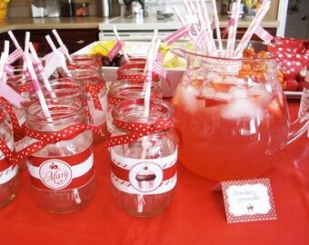 PINK & RED CUPCAKE Printable Drink Wraps