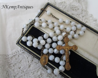 Antique glass rosary  1910 Milk glass
