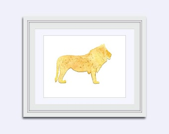 lion Art Print - Lion printable - Safari wall art - Printable kids gift - watercolor Lion - Lion print - children room art - boys wall art