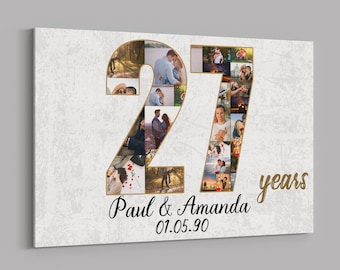 27th Anniversary Gifts Custom Collage Photo Canvas Personalized Wall Art Wedding Anniversary Gift 27 Years Married Gift Wife Husband Present