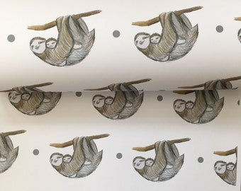 Sloth, wrapping paper, gift wrap, for Mother's Day, baby sloth, for sloth lovers