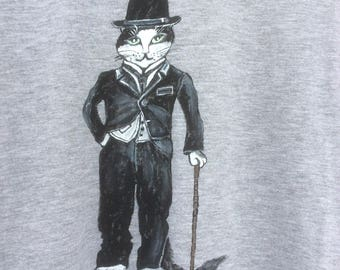 """Cat-me"" on grey tee, three-quarter sleeves, size L"
