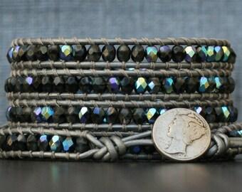 READY TO SHIP crystal wrap bracelet- silver gray jet aurora borealis on silver leather - beaded leather 5 wrap - boho gypsy bohemian