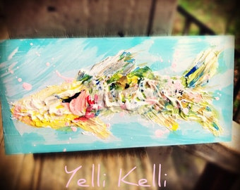 Rustic Fish Textured Wood Block Painting Ready to Ship YelliKelli