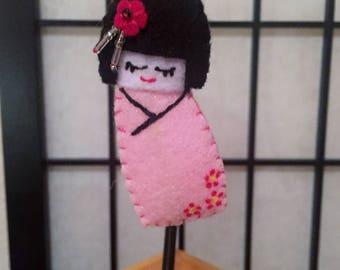 Felt Kokeshi Ornament - Pink , Red Flowers