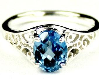 Swiss Blue Topaz, 925 Sterling Silver Ring, SR005