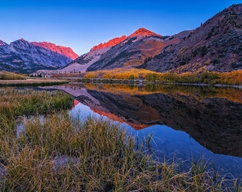 Eastern Sierra Photography, Fall foliage,fine art photography, wall art, canvas art, lake photography, mountain photography,sunrise picture