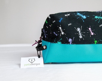 Beauty Case with objects or travel, fantasy fabric and turquoise leather-drawing ants