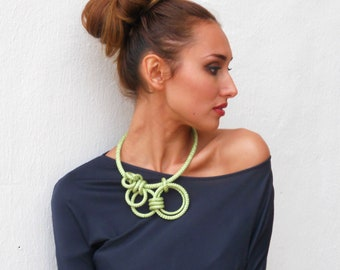 Asymmetrical Statement Necklace Lime Green