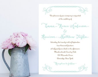 Whimsy Wedding Invitation - Swirl, Flourish Wedding Invitation