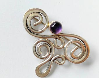 SALE! STUNNING Vintage Real Amethyst and Silver Brooch/Pin-Purple-Very Unique-All Orders Only 99c Shipping!!