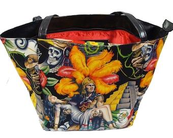 """USA Handmade Travel Bag Shoulder Bag Style With """"AZTEC CONTIGO"""" Pattern HandBag Purse, Cotton, new"""