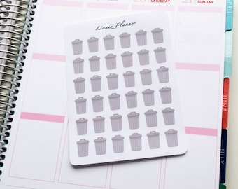 Grey Trash Can Regular size (Matte planner stickers, perfect for planners)